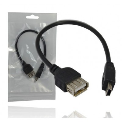 CAVO USB 2.0 MINI USB MASCHIO / FEMMINA USB LUNGHEZZA 20 Cm. COLORE NERO USBF-MINI5P
