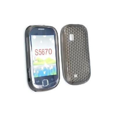 CUSTODIA GEL TPU SILICONE per SAMSUNG Galaxy Fit S5670 COLORE NERO-TRASPARENTE