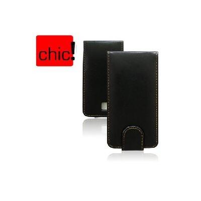 CUSTODIA FLIP VERTICALE PELLE per HTC DESIRE EVO 3D, EVO 3D CDMA COLORE NERO
