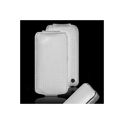 CUSTODIA VERTICALE FLIP PELLE CARBON per APPLE IPHONE 4, 4s COLORE SILVER