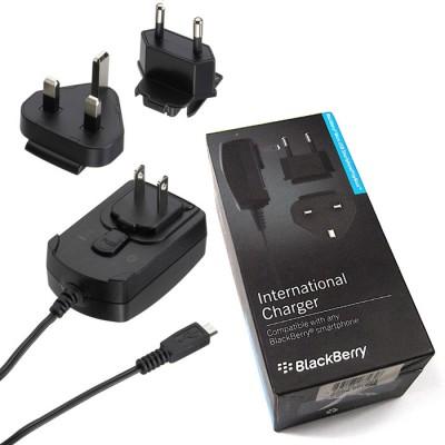 TRAVEL CASA ORIGINALE BLACKBERRY ACC-18080-203 ATTACCO MICRO USB CON ADATTATORI (EU, UK, US) BLISTER