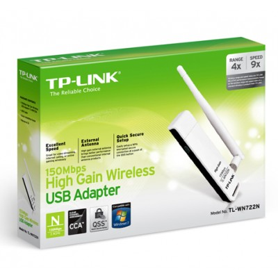 CHIAVETTA USB WIRELESS 150 Mbps CON ANTENNA COLORE BIANCO TL-WN722N TP-LINK