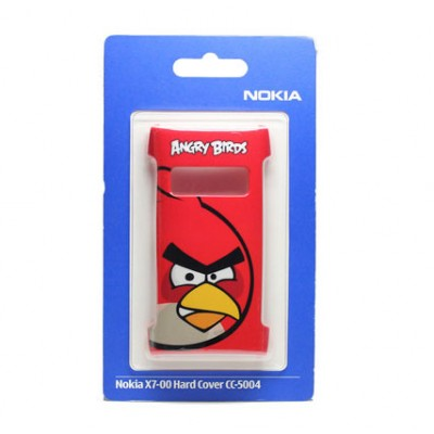 CUSTODIA BACK RIGIDA ORIGINALE CC-5004 per NOKIA X7-00 COLORE ROSSO CON FANTASIA ANGRY BIRDS BLISTER