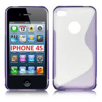 CUSTODIA GEL TPU SILICONE DOUBLE per iPHONE 4, 4s COLORE VIOLA-TRASPARENTE