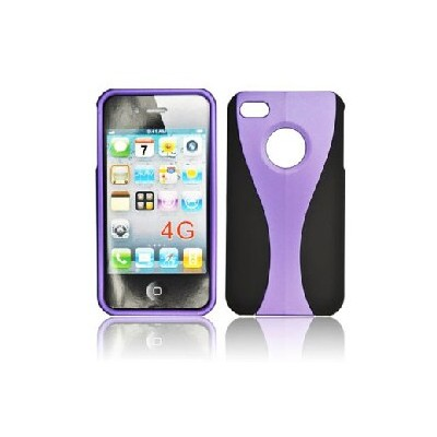 CUSTODIA RIGIDA COMBO per IPHONE 4, 4s NERA-VIOLA