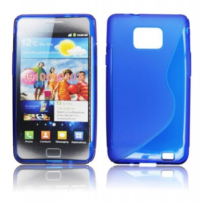 CUSTODIA GEL TPU SILICONE DOUBLE per SAMSUNG I9100 Galaxy S II, I9105 Galaxy S II Plus COLORE BLU