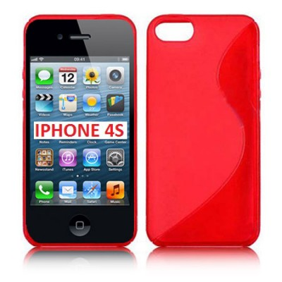 CUSTODIA GEL TPU SILICONE DOUBLE per APPLE IPHONE 4, IPHONE 4s COLORE ROSSO