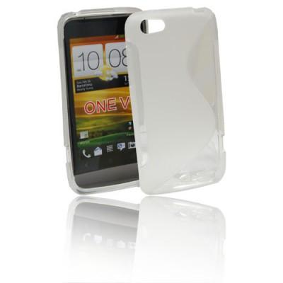 CUSTODIA GEL TPU SILICONE DOUBLE per HTC ONE V COLORE BIANCO