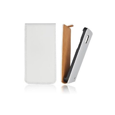 CUSTODIA VERTICALE SLIM FLIP PELLE per APPLE IPHONE 4, 4s COLORE BIANCO