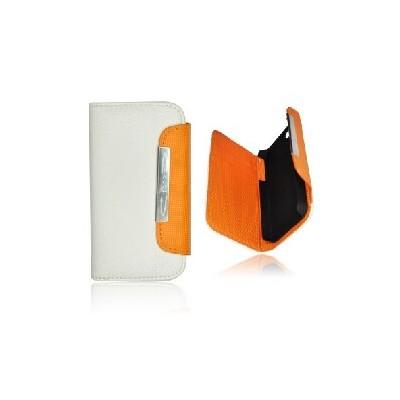CUSTODIA ORIZZONTALE FLIP WALLET per APPLE IPHONE 4, 4s COLORE BIANCO E ARANCIONE