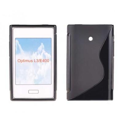 CUSTODIA GEL TPU SILICONE DOUBLE per LG E400 Optimus L3 COLORE NERO