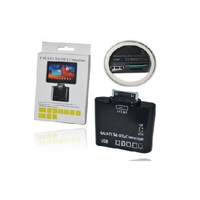 LETTORE DI MEMORIE + PORTA USB per SAMSUNG P1000 GALAXY TAB, P7100 GALAXY TAB 10.1 SEGUE COMPATIBLITA'..