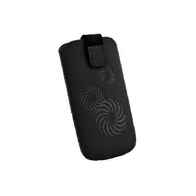 CUSTODIA A SACCHETTO IN TESSUTO per HTC HD2 E MODELLI SIMILARI FANTASIA SPIRALE COLORE NERO