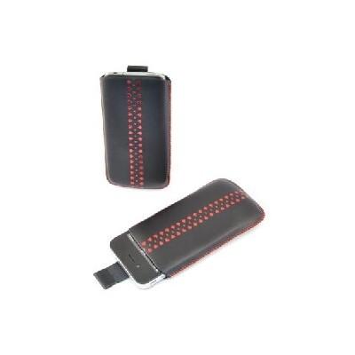 CUSTODIA A SACCHETTO IN PVC per APPLE IPHONE 3G, 3GS, 4, 4S E MODELLI SIMILARI COLORE NERO CON FANTASIA ROSSA