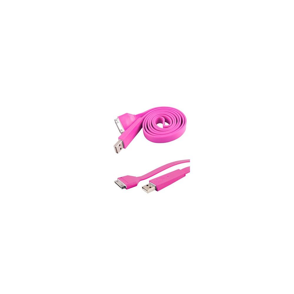 CAVO PC USB PIATTO per APPLE IPHONE 2, 3, 3s, 4, 4s, IPAD, IPOD COLORE ROSA