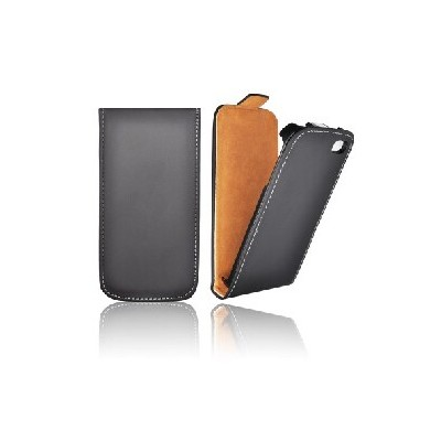 CUSTODIA VERTICALE SLIM FLIP PELLE per APPLE IPHONE 5, 5S COLORE NERO