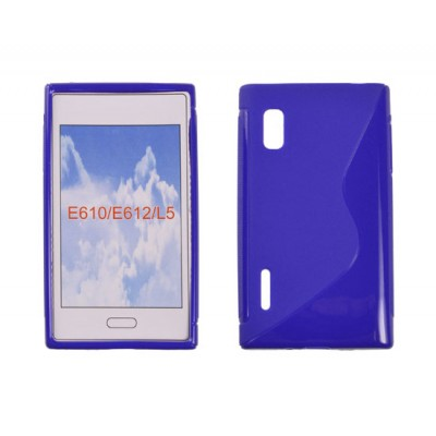 CUSTODIA GEL TPU SILICONE DOUBLE per LG E610 Optimus L5, E612 COLORE BLU