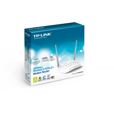 MODEM ROUTER ADSL2 + WIRELESS N 300Mbps CON 4 PORTE LAN COLORE BIANCO TD-W8961N TP-LINK