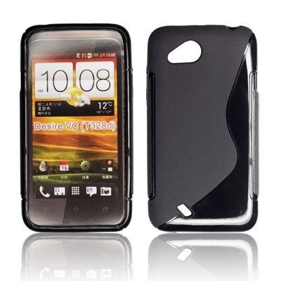 CUSTODIA GEL TPU SILICONE DOUBLE per HTC DESIRE VC, T328D COLORE NERO