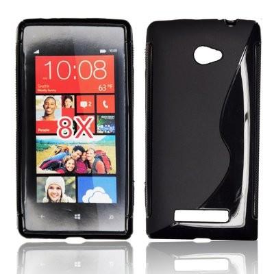 CUSTODIA GEL TPU SILICONE DOUBLE per HTC WINDOWS PHONE 8X C620E COLORE NERO