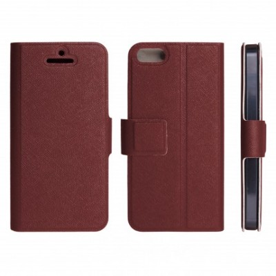 CUSTODIA FLIP ORIZZONTALE SLIM per APPLE IPHONE 5, 5S CON STAND E CHIUSURA MAGNETICA COLORE COLORE MARRONE