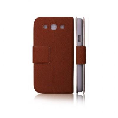 CUSTODIA FLIP ORIZZONTALE SLIM per SAMSUNG i9300 Galaxy S3, I9300i Galaxy S3 Neo CON STAND E CHIUSURA MAGNETICA COLORE MARRONE