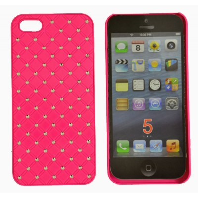 CUSTODIA RIGIDA CON BRILLANTINI per APPLE IPHONE 5, 5S COLORE ROSA
