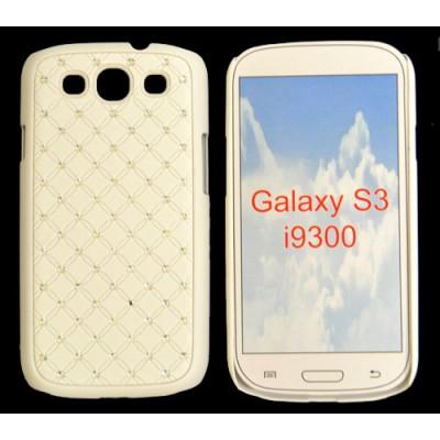 CUSTODIA RIGIDA GOMMATA CON BRILLANTINI per SAMSUNG I9300 Galaxy S3, I9300i Galaxy S3 Neo COLORE BIANCO
