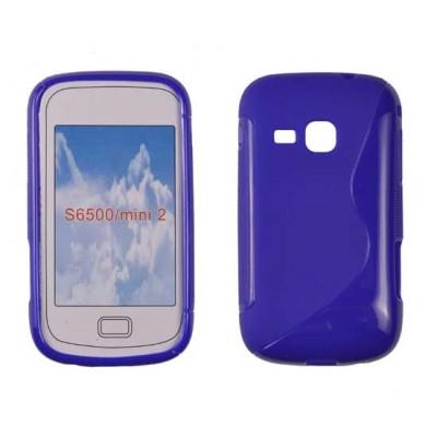 CUSTODIA GEL TPU SILICONE DOUBLE per SAMSUNG S6500 Galaxy Mini 2 COLORE BLU