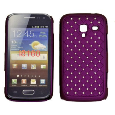 CUSTODIA RIGIDA GOMMATA CON BRILLANTINI per SAMSUNG I8160 Galaxy Ace 2 COLORE VIOLA