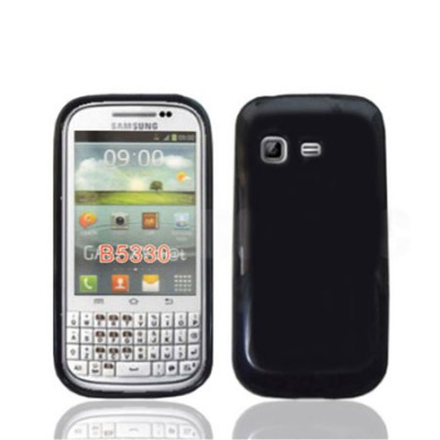 CUSTODIA GEL TPU SILICONE LUCIDA per SAMSUNG B5330 Galaxy Chat COLORE NERO