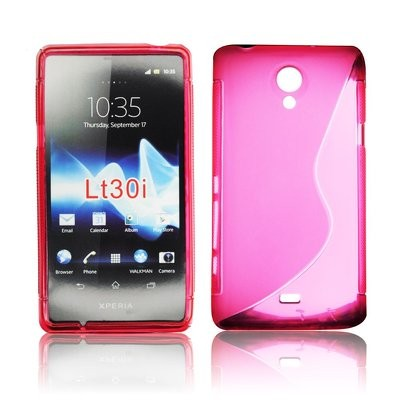 CUSTODIA GEL TPU SILICONE DOUBLE per SONY XPERIA T LT30P COLORE ROSA