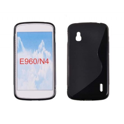 CUSTODIA GEL TPU SILICONE DOUBLE per LG Nexus 4 E960 COLORE NERO