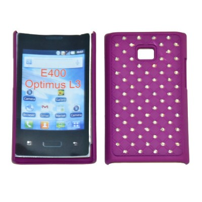 CUSTODIA RIGIDA GOMMATA CON BRILLANTINI per LG E400 Optimus L3 COLORE VIOLA