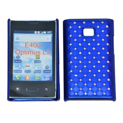 CUSTODIA RIGIDA GOMMATA CON BRILLANTINI per LG E400 Optimus L3 COLORE BLU