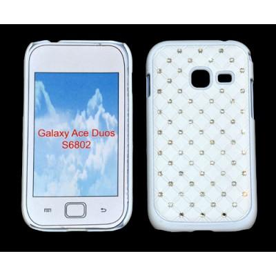 CUSTODIA RIGIDA GOMMATA CON BRILLANTINI per SAMSUNG S6802 Galaxy Ace Duos COLORE BIANCO