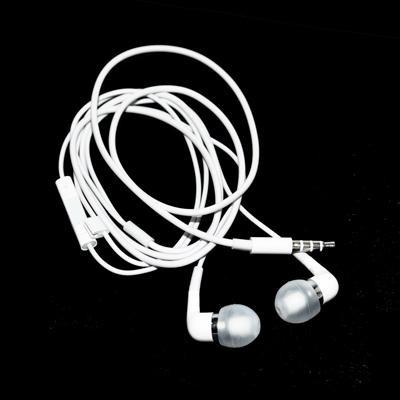 AURICOLARE STEREO SILICONE APPLE IPHONE 2, 3, 3Gs, 4, 4s, IPAD2/3 COLORE BIANCO CON TASTO CONTROLLO VOLUME