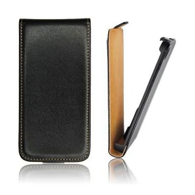 CUSTODIA VERTICALE SLIM FLIP PELLE per HTC WINDOWS PHONE 8X C620E COLORE NERO