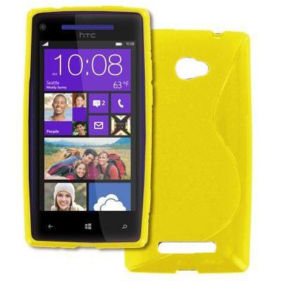 CUSTODIA GEL TPU SILICONE DOUBLE per HTC HTC WINDOWS PHONE 8X C620E COLORE GIALLO