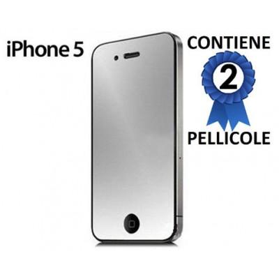 PELLICOLA per APPLE IPHONE SE, IPHONE 5S, IPHONE 5 - PROTEGGI DISPLAY A SPECCHIO CONFEZIONE 2 PEZZI