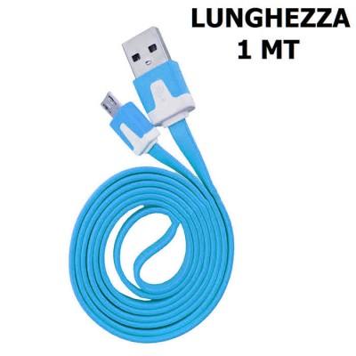 CAVO USB PIATTO per ACER BeTOUCH T500 ATTACCO MICRO USB LUNGHEZZA 1 MT COLORE BLU SEGUE COMPATIBILITA'..