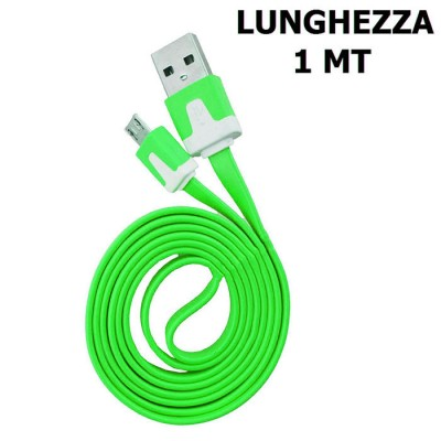 CAVO USB PIATTO per ACER BeTOUCH T500 ATTACCO MICRO USB LUNGHEZZA 1 MT COLORE VERDE SEGUE COMPATIBILITA'..