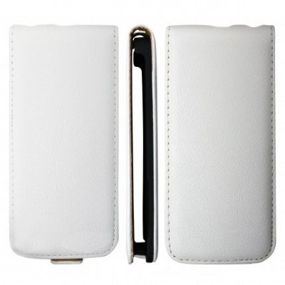 CUSTODIA VERTICALE SLIM FLIP VERA PELLE per APPLE IPHONE 5, 5S COLORE BIANCO