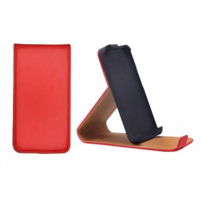 CUSTODIA VERTICALE SLIM FLIP PELLE CON STAND per APPLE IPHONE 5, 5S COLORE ROSSO