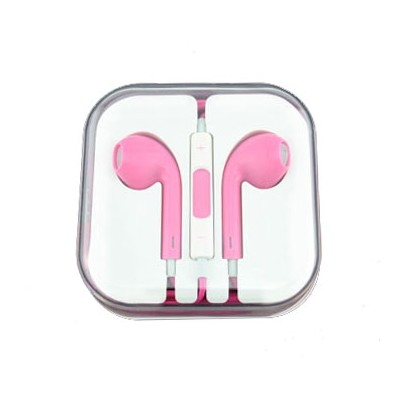 AURICOLARE STEREO per APPLE IPHONE 5, 5S, 5C COLORE ROSA CON TASTO CONTROLLO VOLUME