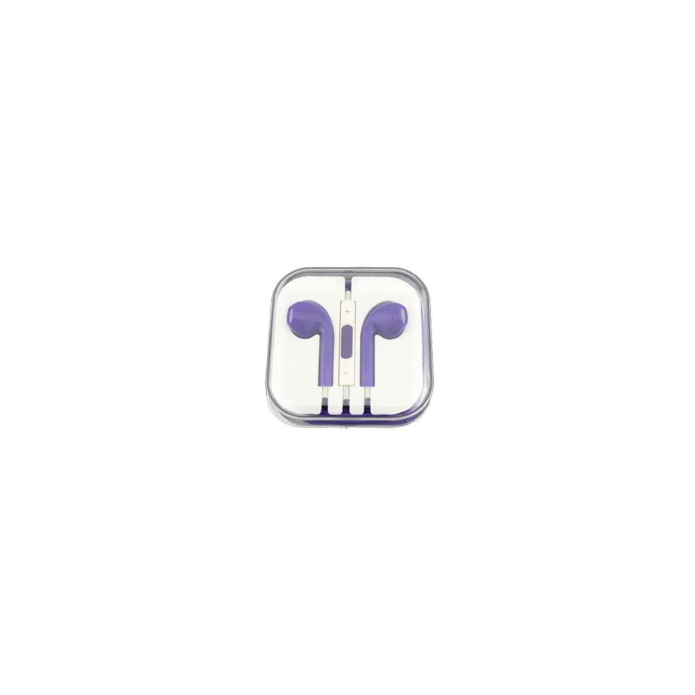 AURICOLARE STEREO per APPLE IPHONE 5, 5S, 5C COLORE VIOLA CON TASTO CONTROLLO VOLUME