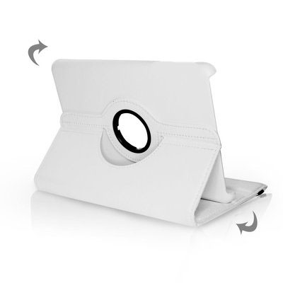 CUSTODIA BOOK PELLE GIREVOLE per SAMSUNG N5100 GALAXY NOTE 8.0, N5110, N5120 COLORE BIANCO