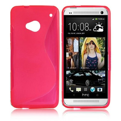 CUSTODIA GEL TPU SILICONE DOUBLE per HTC ONE, M7 COLORE ROSA