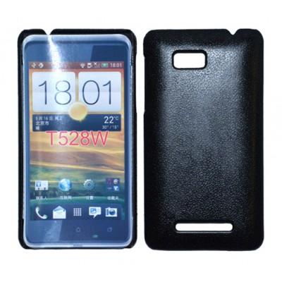 CUSTODIA BACK RIGIDA per HTC ONE SU 528W COLORE NERO PLASTIFICATO EFFETTO PELLE