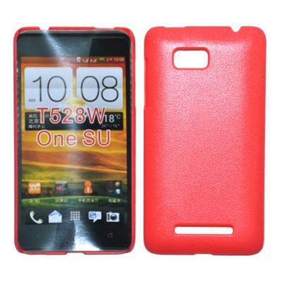 CUSTODIA BACK RIGIDA per HTC ONE SU 528W COLORE ROSA PLASTIFICATO EFFETTO PELLE